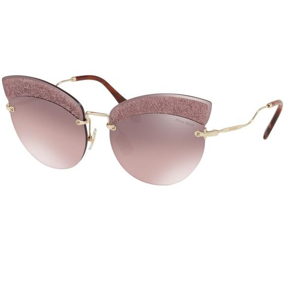 66fb19ec476c Miu Miu Sunglasses Pale Gold w Pink Lens